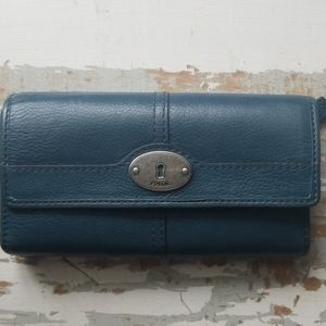 Fossil Blue Leather Wallet Trifold